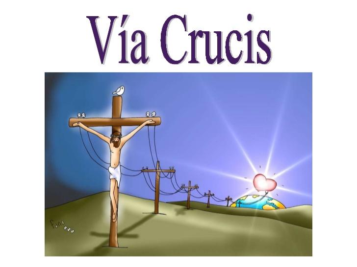 Jesús colgado de un poste de electricicdad dando luz al mundo
